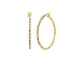Gold Memory Wire Crystal 45 mm Hoop Earrings
