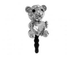 Bear with Heart Stone Clear Crystal Phone Plug