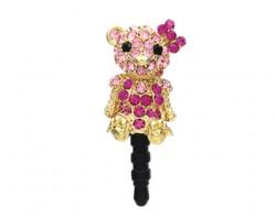 Bear with Ribbon Fuchsia Crystal Phone Plug