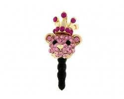 Light Rose Gold Bear Head With Fuchsia Crystal Phone Plug