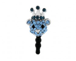 Light Sapphire Bear Head With Montana Crystal Phone Plug
