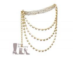 Gold Crystal Stud Three Tier Boot Jewelry