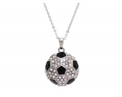Clear Crystal Soccer Ball Pendant Chain Necklace