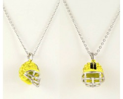 Yellow Citrine Crystal Football Helmet Necklace