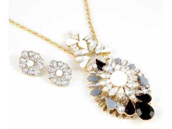 Black & White Marquise Burst Pendant Gold Plate Chain Necklace Set