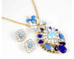 Sapphire Marquise Burst Pendant Gold Necklace Set