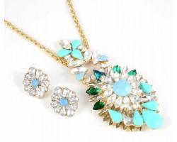 Turquoise Marquise Burst Pendant Gold Necklace Set