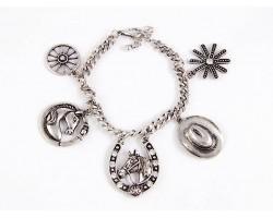 Silver Horseshoe Western Theme Crystal Bracelet