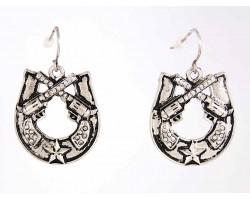 Antique Silver Pistol Horseshoe Crystal Earrings