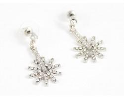 Silver Crystal Western Spur Post Earrings