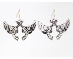 Silver Crossed Winged Crystal Pistols Earrings