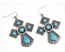 Antique Silver Turquoise Diamond Cross Hook Earrings
