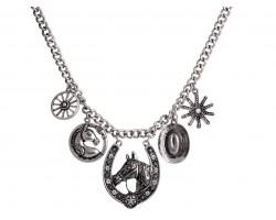 Silver Horseshoe Western Theme Crystal Necklace
