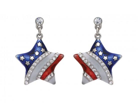 Red White Blue US Flag Star Crystal Post Earrings