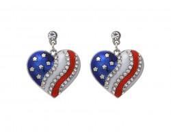 Red White Blue US Flag Heart Crystal Post Earrings