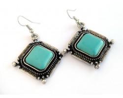 Turquoise Dyed Stone Diamond Wire Bezel Earrings