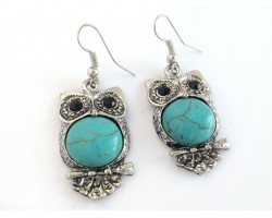Turquoise Dyed Fat Tummy Owl Earrings