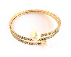 Gold Crystal Rope Pearl Ends Memory Wire Bracelet