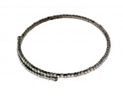 Gunmetal Crystal Single Line Memory Wire Bracelet