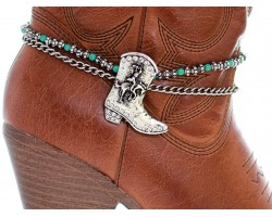 Turquoise Bead Crystal Boot Charm Shoe Boot Jewelry