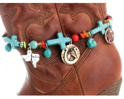 Tri Color Turquoise Cross Texas Horse Head Boot Jewelry