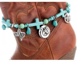 Turquoise Stone Cross Texas Horse Head Boot Jewelry