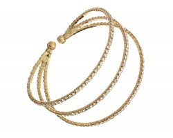 Gold 3 Line Crystal Rope Memory Wire Bracelet