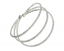 Silver 3 Line Crystal Rope Memory Wire Bracelet