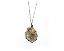 White Druzy Crystal Wire Wrap Geode Necklace
