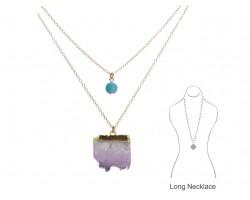 Purple Sliced  Flourite Geode Stone Necklace