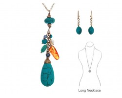 Turquoise Dyed Stone T-Drop Charms Gold Necklace Set