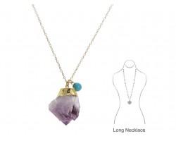 Amethyst Quartz Crystal Gold Chain Necklace