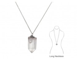 Clear Quartz Crystal Silver Plate Chain Necklace