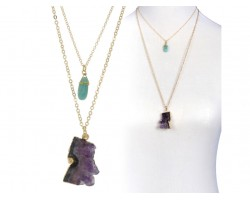Amethyst Geode Turquoise Crystal Necklace