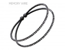 Black 2 Row Clear Crystal Memory Bracelet