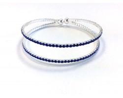 Silver 2 Line Blue Crystal Memory Bracelet