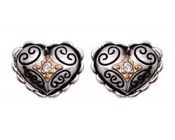 Two Tone Filigree Crystal Heart Post Earring