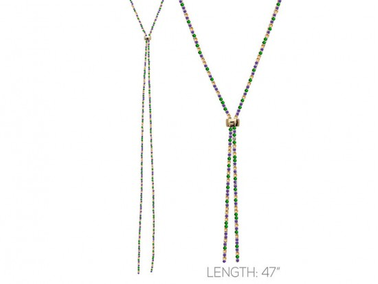Mardi Gras Crystal Rope Chain Lanyard Necklace