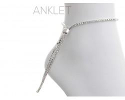 Silver 2mm AB Crystal Adjustable Anklet