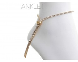 Gold 2mm Crystal Adjustable Anklet