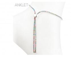 Silver 2mm Multi Crystal Adjustable Ankle Bracelet