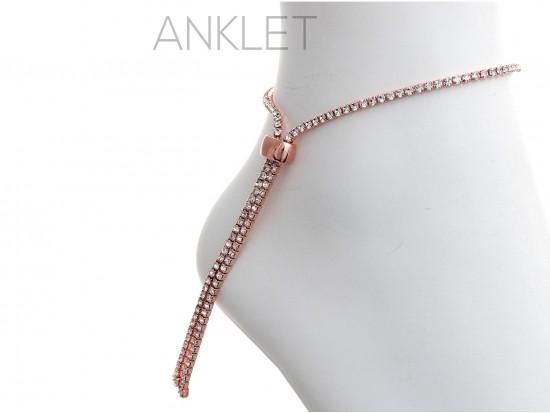 Rose Gold 2mm Crystal Adjustable Anklet