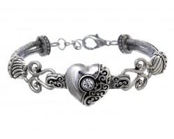 Silver Heart Filigree Rope Bracelet
