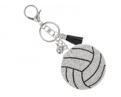 Silver Crystal Volleyball Puffy Key Chain