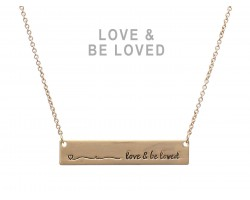 Gold Love & Be Loved Bar Message Necklace