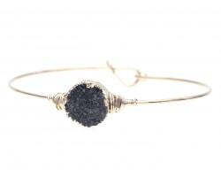 Black Druzy Stone Wire Wrap Hook Bracelet