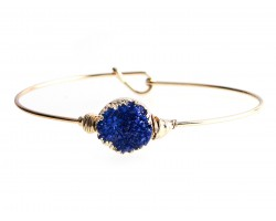 Blue Druzy Stone Wire Wrap Hook Bracelet