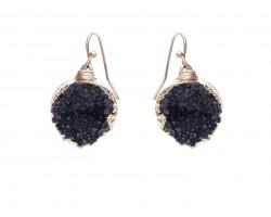 Black Druzy Stone Wire Wrap Hook Earrings