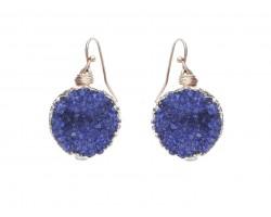 Blue Druzy Stone Wire Wrap Hook Earrings