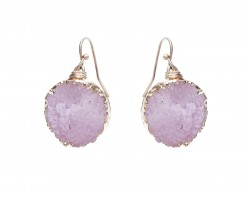 Pink Druzy Stone Wire Wrap Hook Earrings